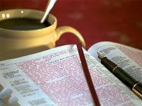 bible with coffee
