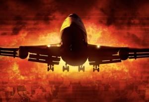 flaming plane