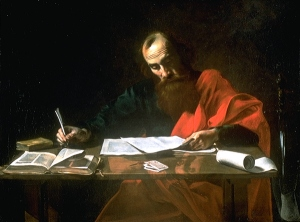 """St. Paul Writing His Epistles,"" by Valentin de Boulogne (17th Cent.)"
