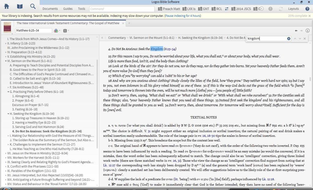 """Keyword searching NIGTC Matthew for """"Kingdom"""""""