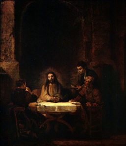 The Disciples Recognize Jesus at Emmaus,  Rembrandt (1606–1669)