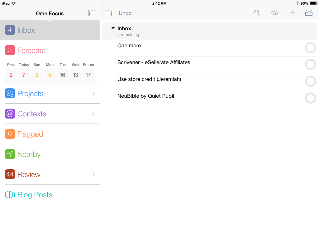 iPad, showing various perspectives and Inbox