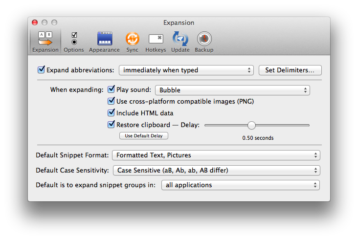 TextExpander Preferences