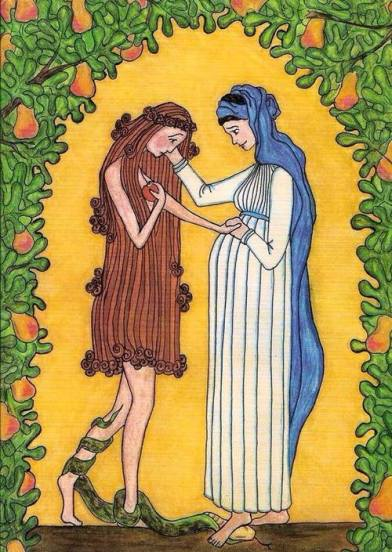 """Virgin Mary Consoles Eve,"" Sister Grace Remington, www.mississippiabbey.org"