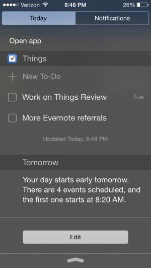 Things Today widget