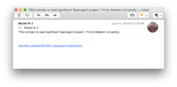 An email about the Septuagint. What could be better?