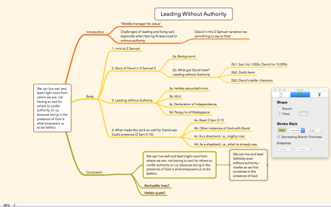 See the Abram KJ blog for more info on Mind Mapping for Sermon Prep
