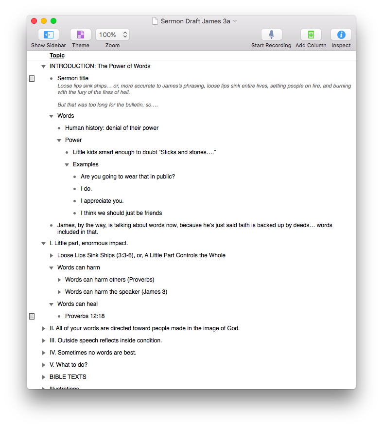 Omnioutliner For Mac And Ios Reviewed Words On The Word