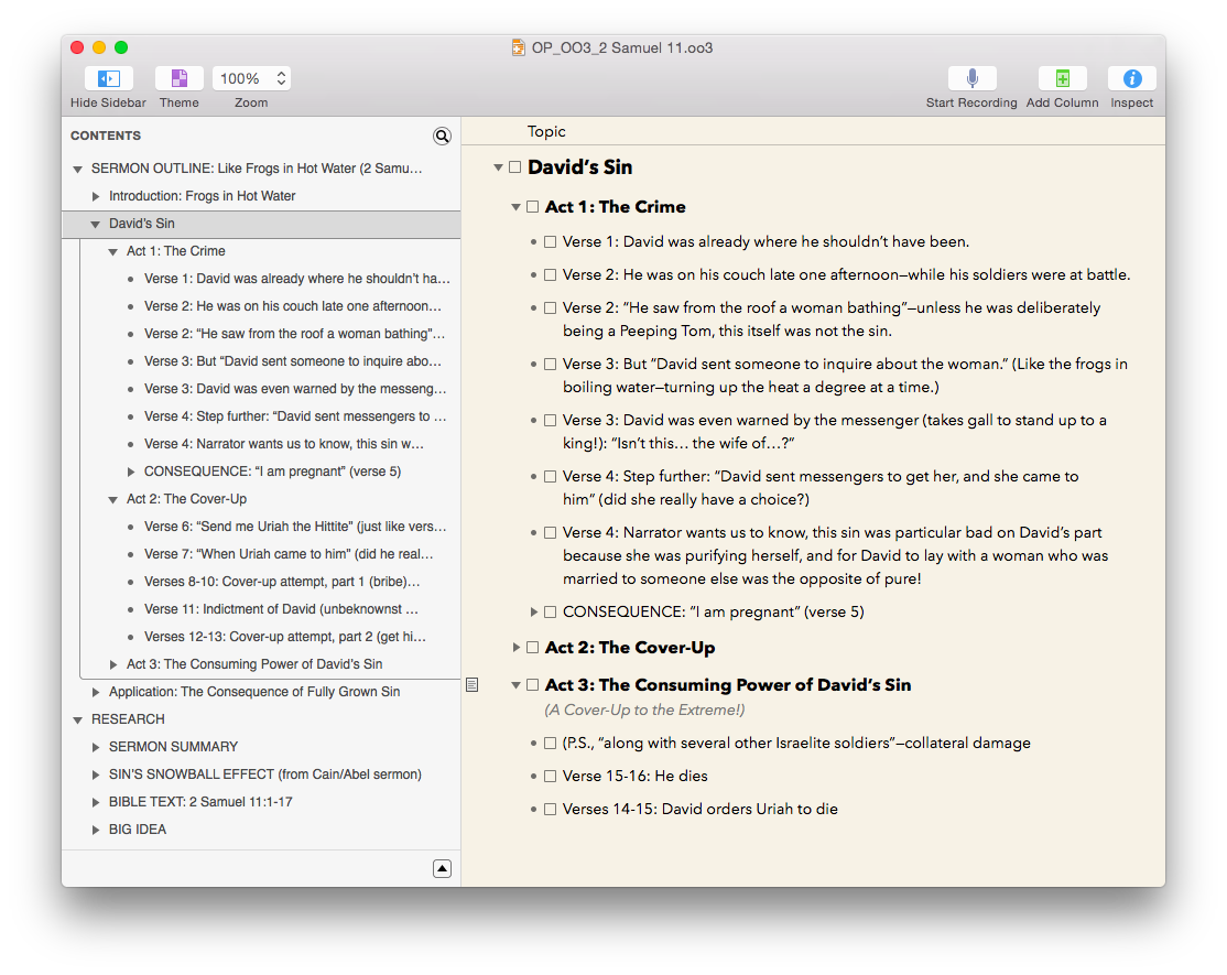 OmniOutliner for Mac and iOS, Reviewed – Words on the Word